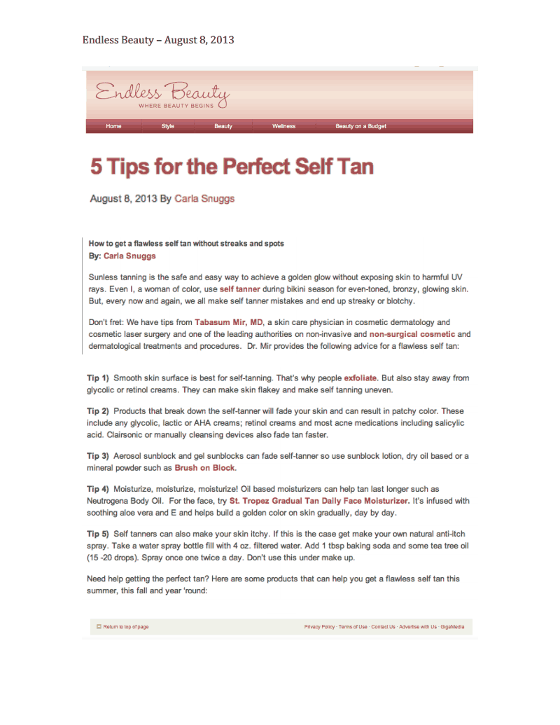 5 Tips for the Perfect Self Tan